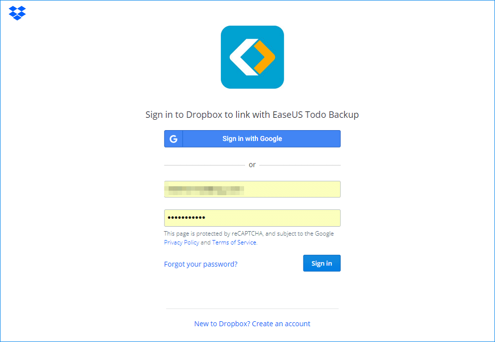 sign in with dropbox