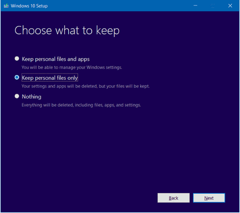 Select Keep personal files to reinstall windows 10 without losing data