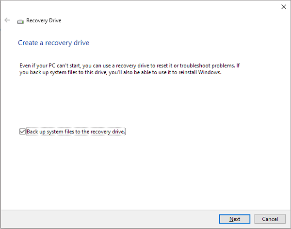 create a windows 10 recovery drive by using windows 10 recovery tool