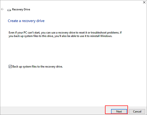 Create recovery drive before Windows update.