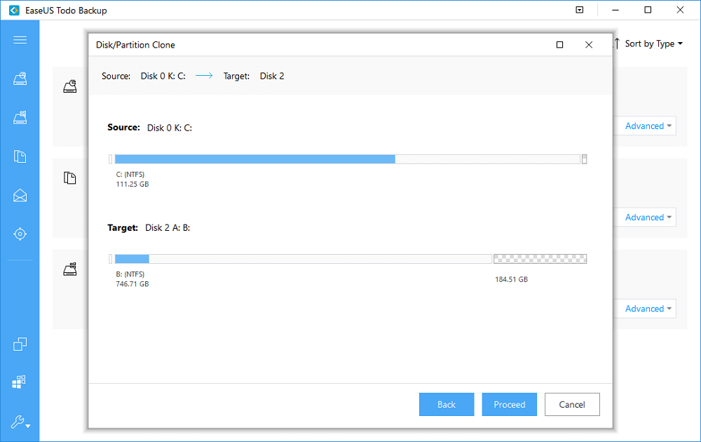 preview your hdd cloning settings and click proceed to clone it