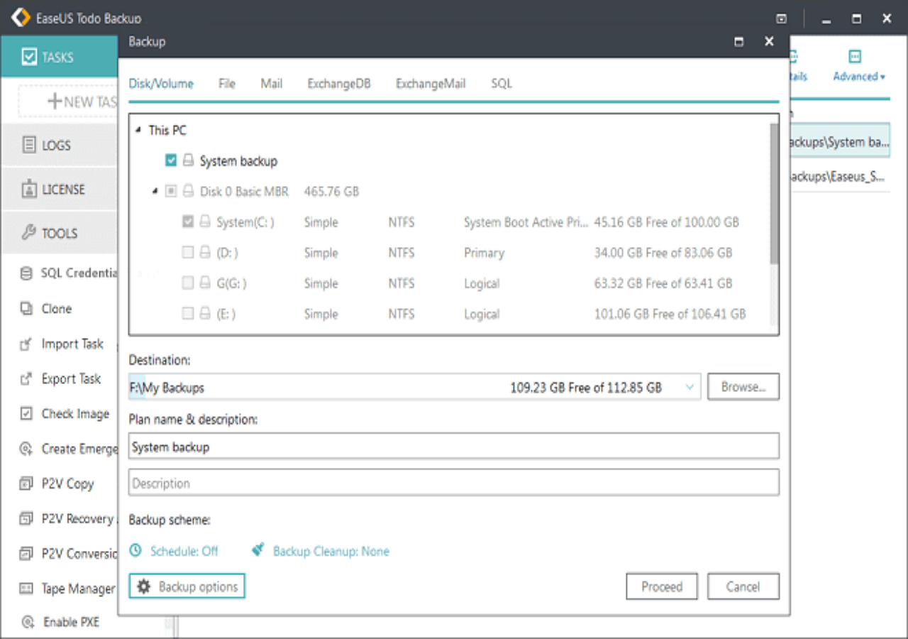 Choose the backup option to ghost Windows 10