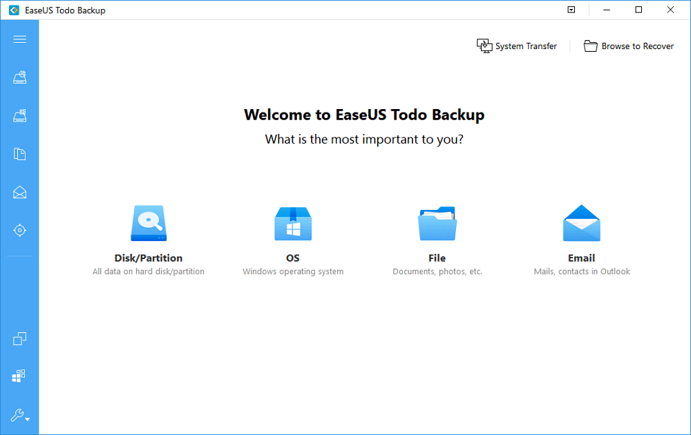 Launch EaseUS backup software to backup files to OneDrive