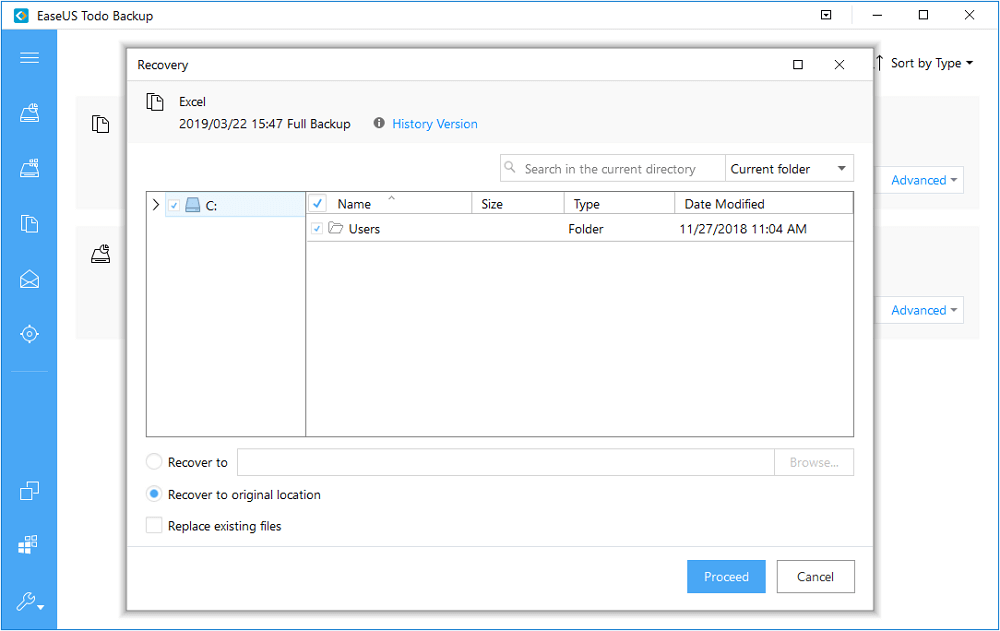 Choose backup destination to backup Hyper-V VM