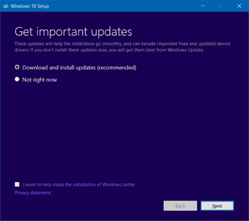 Select Download and install updates to reinstall windows 10 without losing data