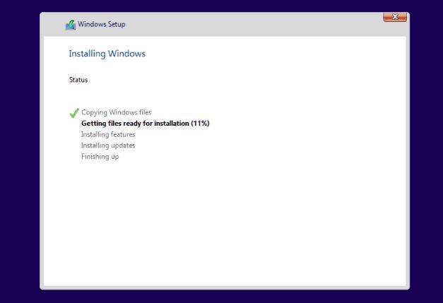 قم بإنهاء تثبيت Windows