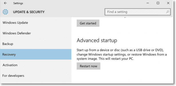open advanced startup to fix Windows stuck at restoring your previous version of Windows