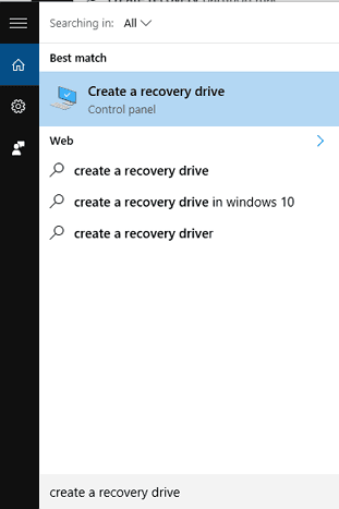 Create recovery drive.
