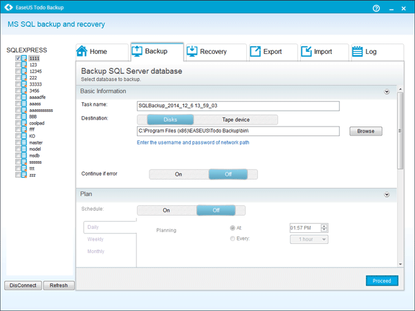 EaseUS Todo Backup Advanced Server ayuda a crear copia de seguridad de SQL Server
