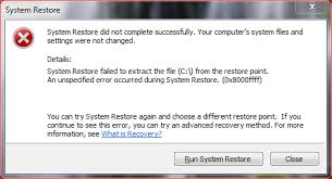 System Restore did not complete successfully with error 0x8000ffff