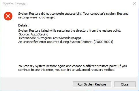 System Restore Failed and Did Not Complete Successfully with