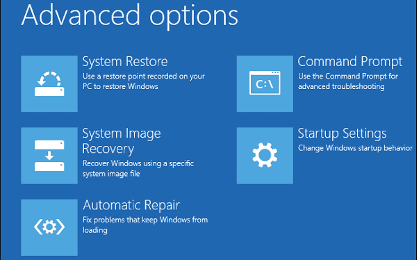 restore system in safe mode with Windows recovery options