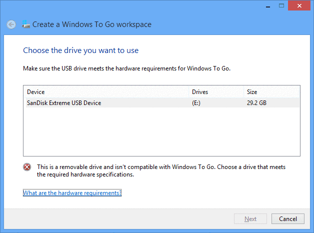 this is a removable drive and isn't compatible with Windows to go