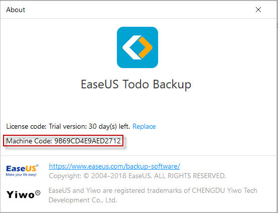 Machine code is a unique ID generated by EaseUS Todo Backup on the basis of  your hardware information. It is closely tied with license code. ea90df542e