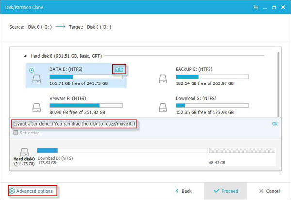 EaseUS Todo Backup Clone a partition