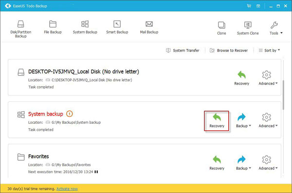 EaseUS Todo Backup System Recovery