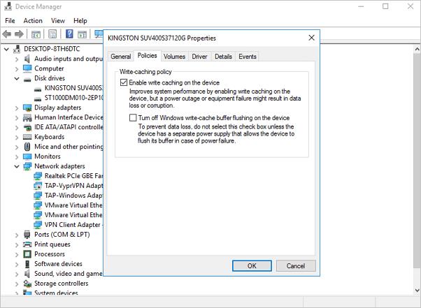 change hardware settings to fix windows 10 slow file transfer