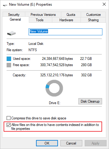 disable drive dexing to fix Windows 10 slow file transfer