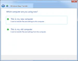 Windows Easy Transfer ask to choose computer that you are using now.