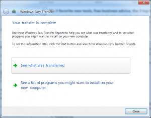 Successfully use Windows Easy Transfer 7 to 10.