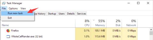 voer een nieuwe taak uit om de opdrachtprompt te openen in Windows 10