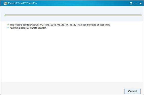 EaseUS Todo PC Trans transfère les données à partir de XP à Windows 10.