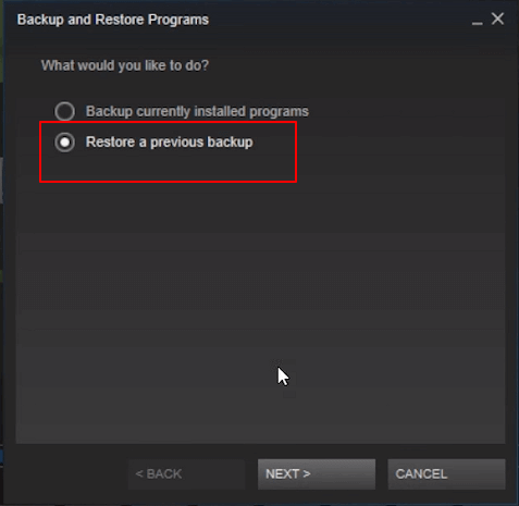 Restore Steam games to new PC.