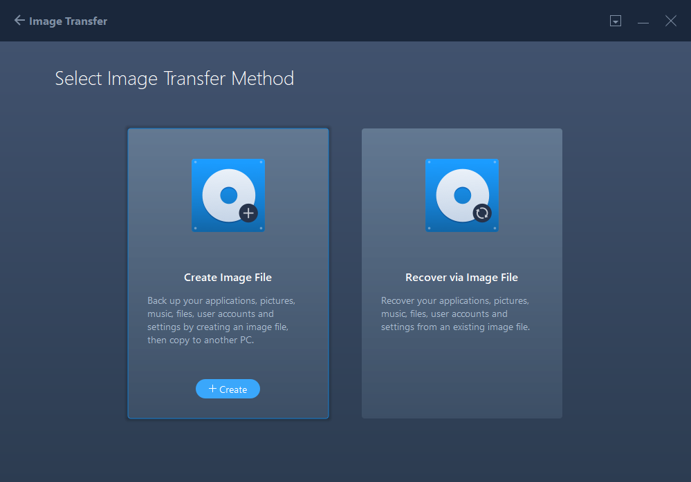 Transfer Via an Image File - Step 2