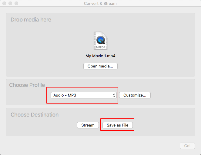 Convert MP4 to MP3 in VLC on Mac.