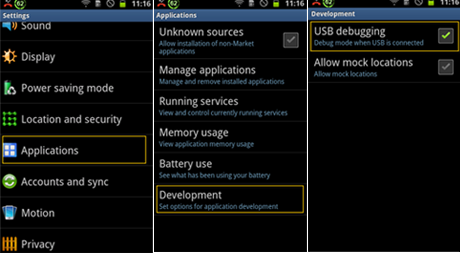 enable USB debugging on Android 2.3 or earlier.