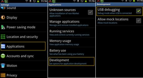 Habilitar la depuración USB en Android 2.3 o versiones más anteriores.