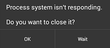 android process system isn't responding error