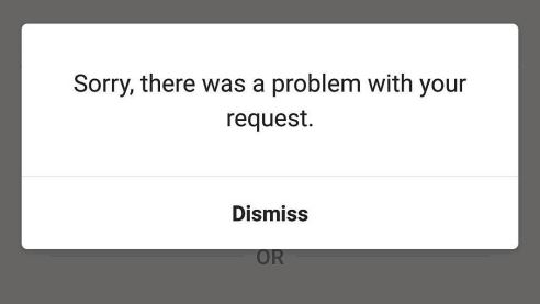 Instagram error there was a problem with your request