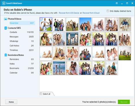 EaseUS MobiSaver vous aider à récupérer des photos d'un iPhone bloqué par analyse de l'appareil iOS sélectionné.