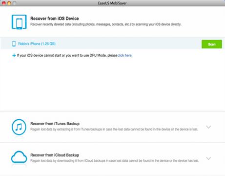 Connecter iPhone 6 avec Mac pour démarrer la récupération de données sur iPhone 6
