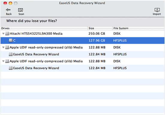EaseUS Data Recovery Wizard - Scan Selected Drive