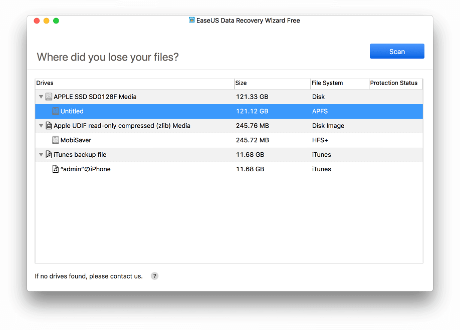 Select the types of files you want to restore