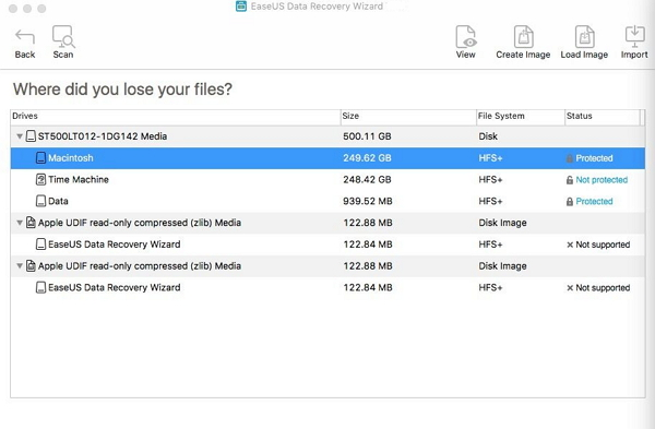 EaseUS Data Recovery Wizard for Mac scans volume to find lost Office and PowerPoint files on Mac.