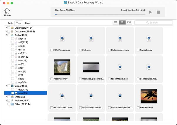 recuperar vídeos de QuickTime con EaseUS Data Recovery Wizard for Mac.