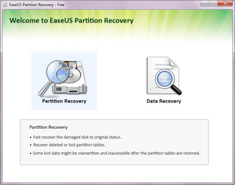 Interface principal do EaseUS Partition Recovery